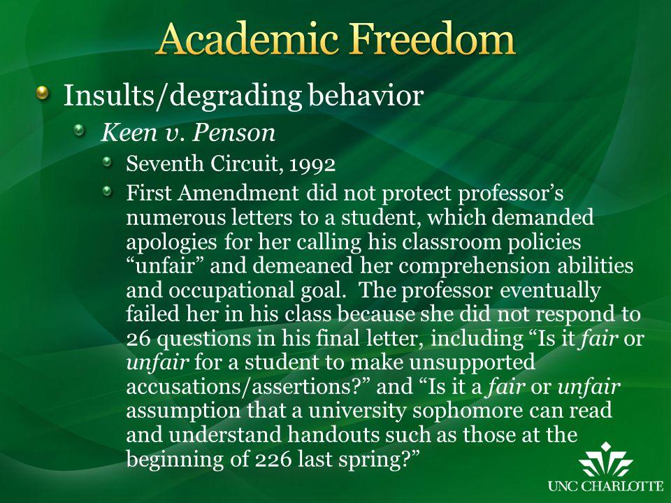 Insults/degrading behavior Keen v.