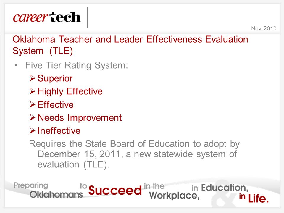 Oklahoma Teacher and Leader Effectiveness Evaluation System (TLE) Five Tier Rating System:  Superior  Highly Effective  Effective  Needs Improveme