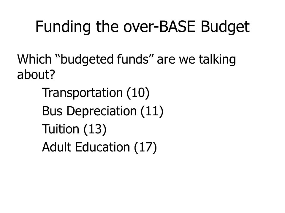 Funding the over-BASE Budget Which budgeted funds are we talking about.