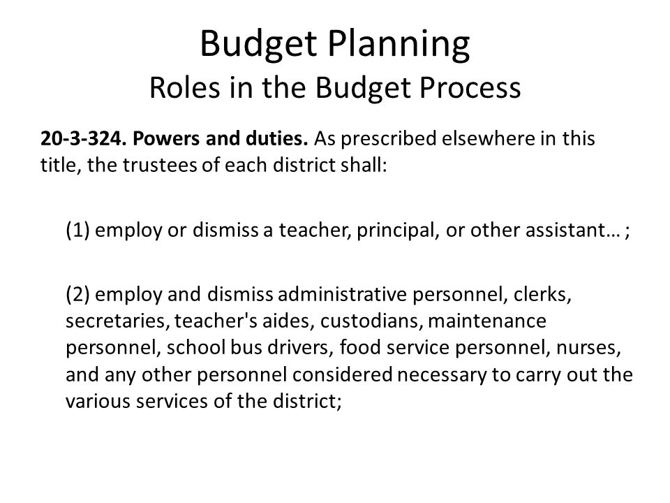 Budget Planning Roles in the Budget Process 20-3-324.