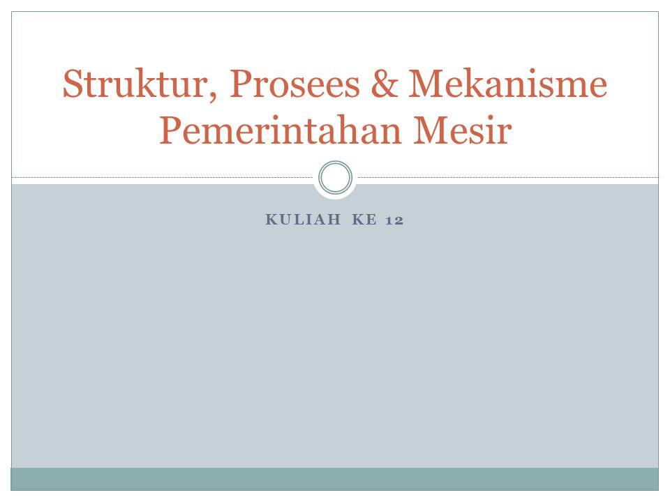 KULIAH KE 12 Struktur, Prosees & Mekanisme Pemerintahan Mesir