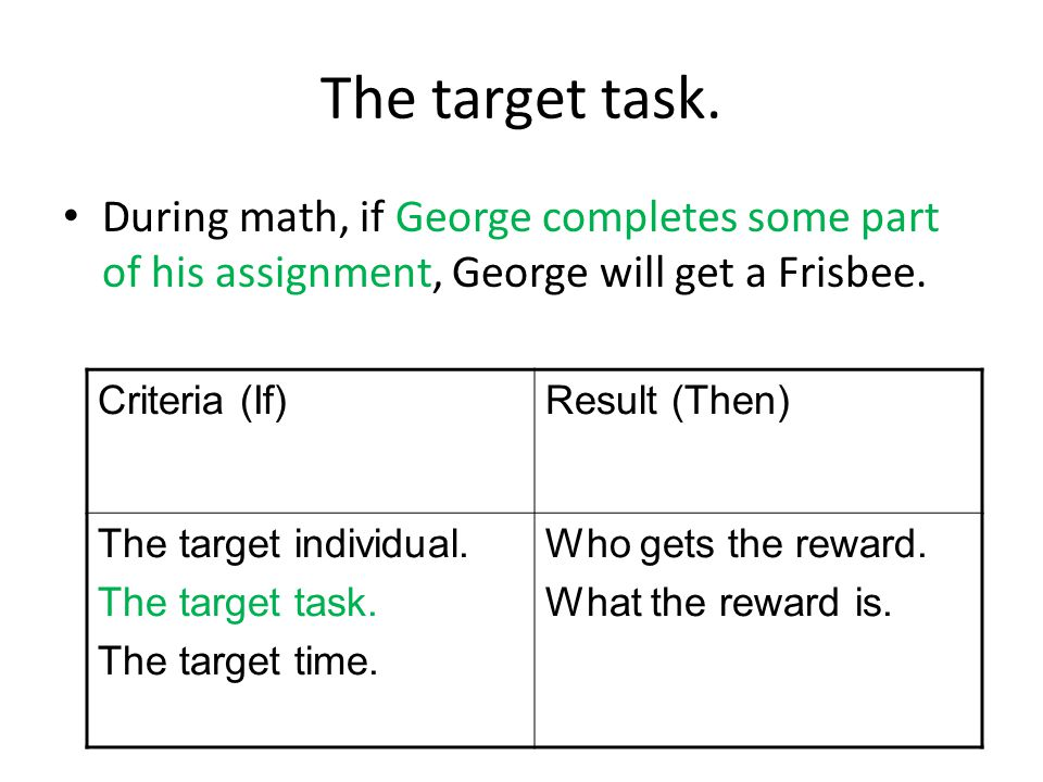 The target task. During math, if George completes some part of his assignment, George will get a Frisbee. Criteria (If)Result (Then) The target indivi