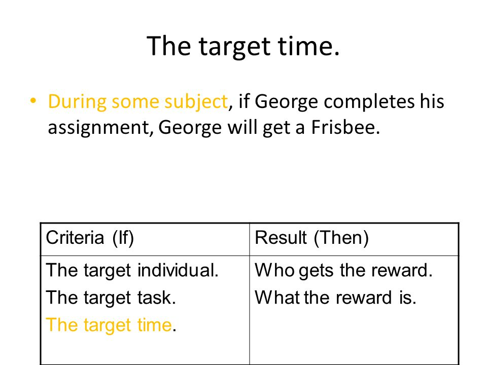 The target time.