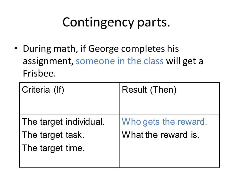 Contingency parts.