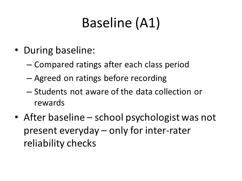 Baseline (A1) During baseline: – Compared ratings after each class period – Agreed on ratings before recording – Students not aware of the data collec