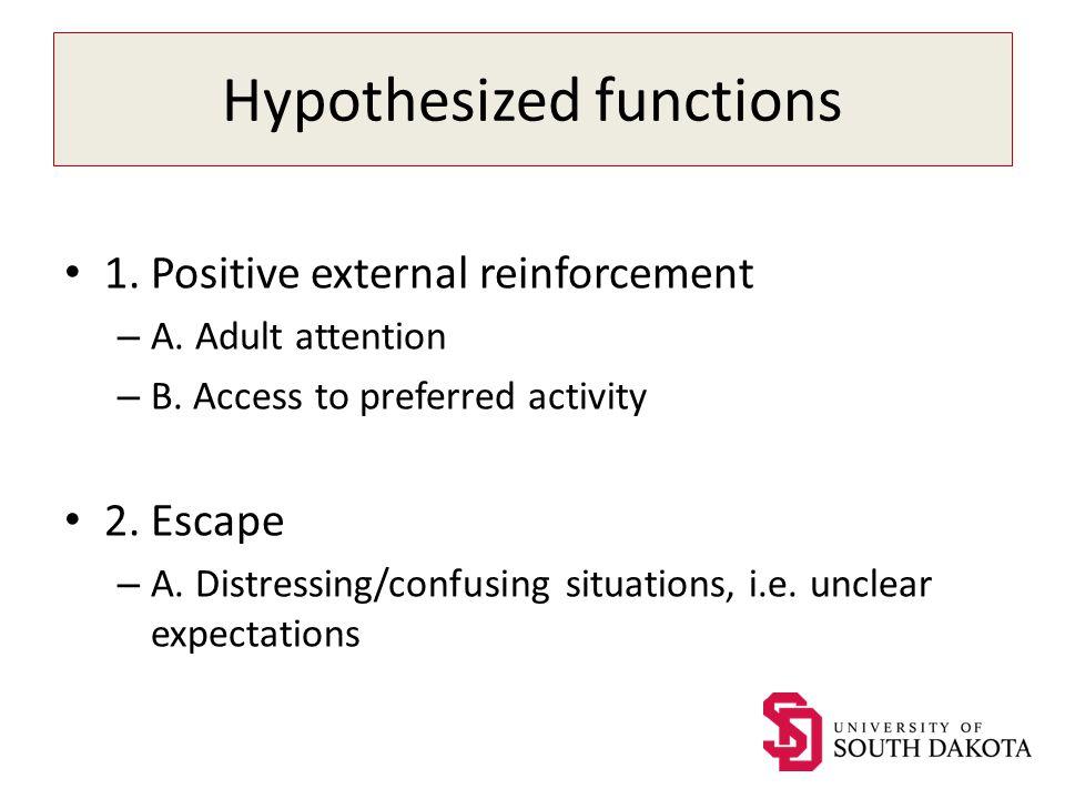 Hypothesized functions 1. Positive external reinforcement – A.