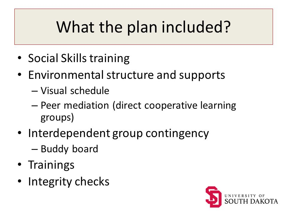 What the plan included? Social Skills training Environmental structure and supports – Visual schedule – Peer mediation (direct cooperative learning gr