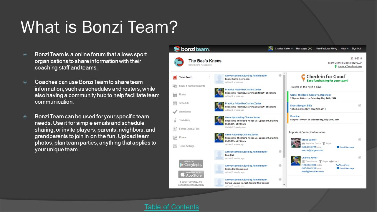 What is Bonzi Team?  Bonzi Team is a online forum that allows sport organizations to share information with their coaching staff and teams.  Coaches