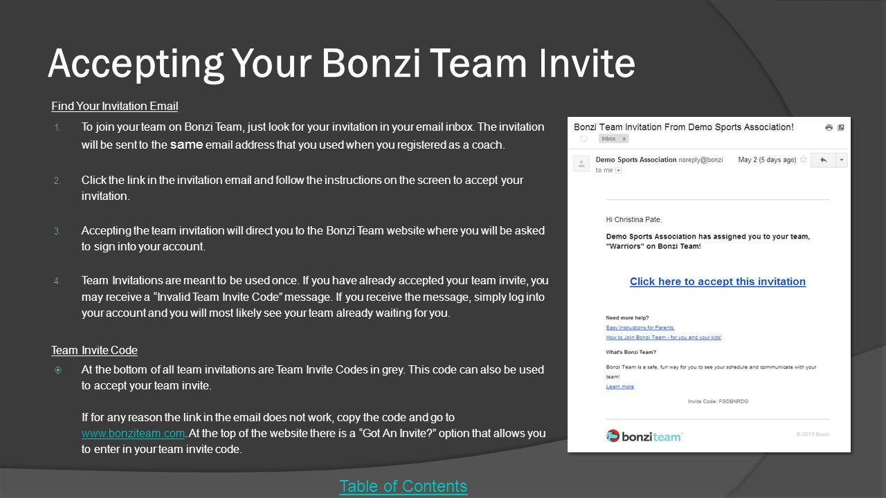 Accepting Your Bonzi Team Invite Find Your Invitation Email 1.