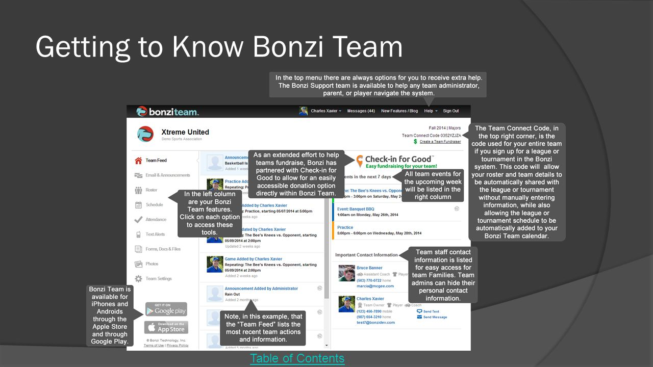 Getting to Know Bonzi Team Table of Contents