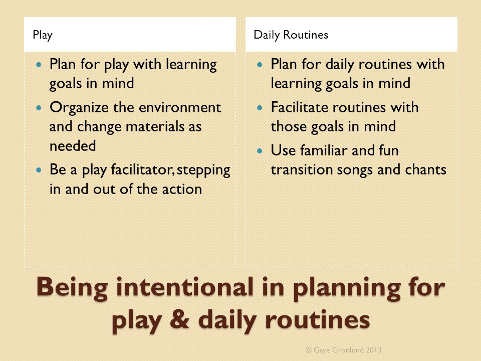 Being intentional in planning for play & daily routines PlayDaily Routines Plan for play with learning goals in mind Organize the environment and chan