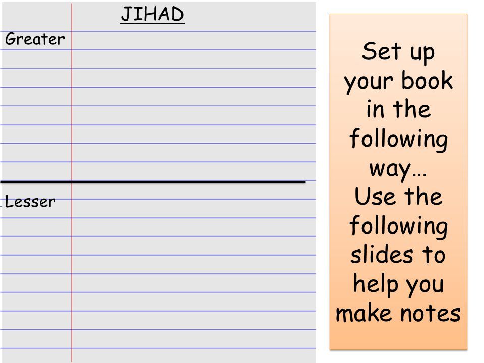 Set up your book in the following way… Use the following slides to help you make notes JIHAD Greater Lesser