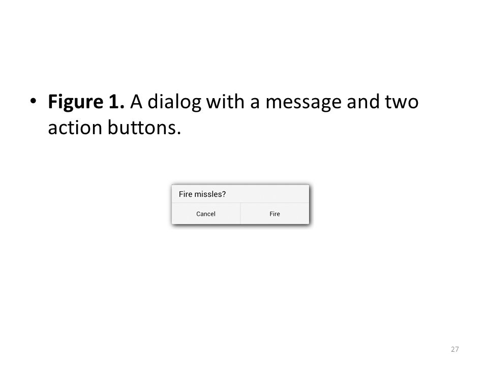 Figure 1. A dialog with a message and two action buttons. 27