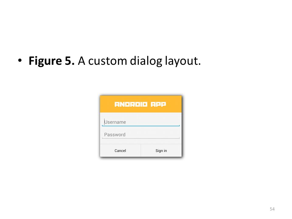 Figure 5. A custom dialog layout. 54