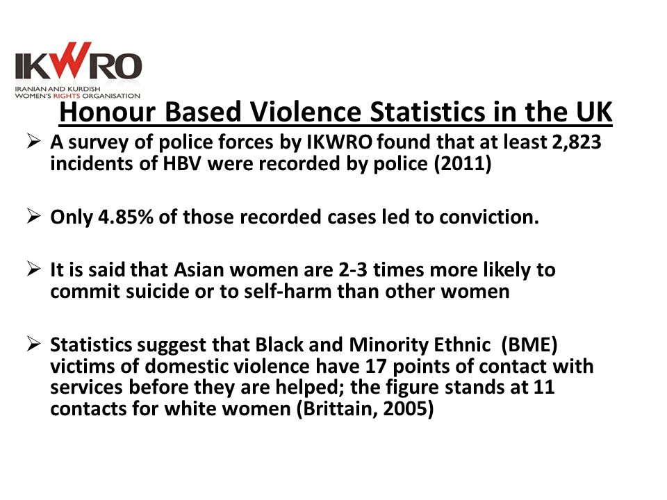 Honour Based Violence Statistics in the UK  A survey of police forces by IKWRO found that at least 2,823 incidents of HBV were recorded by police (20