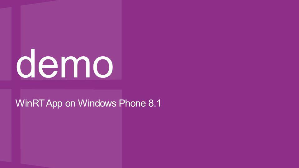 demo WinRT App on Windows Phone 8.1
