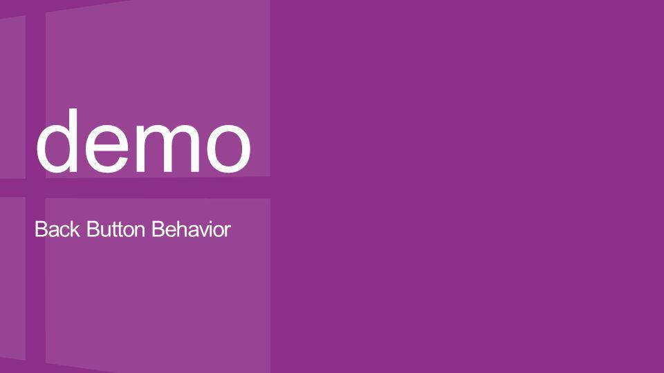 demo Back Button Behavior