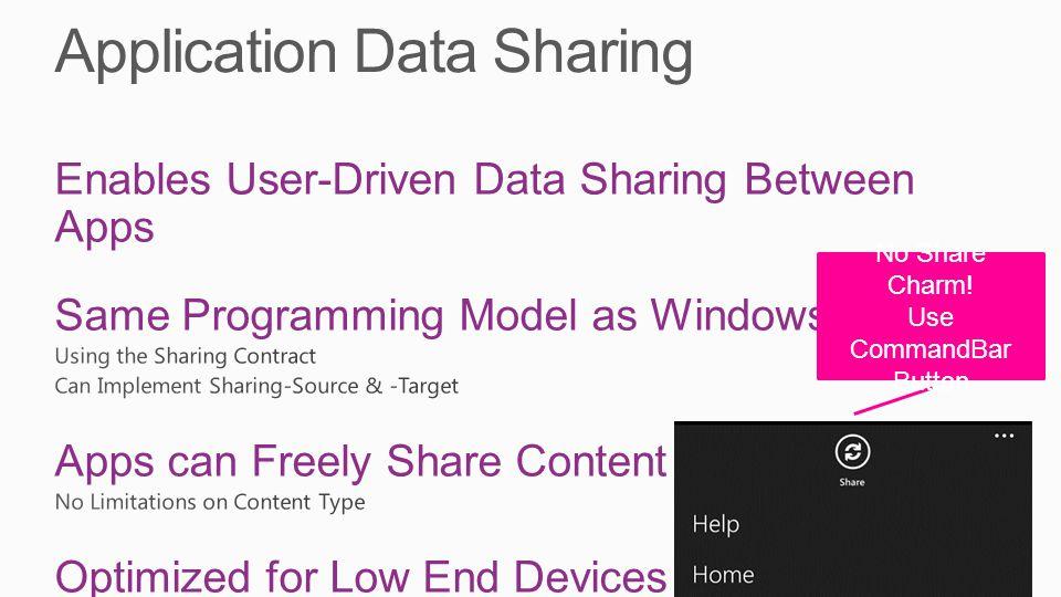 No Share Charm! Use CommandBar Button