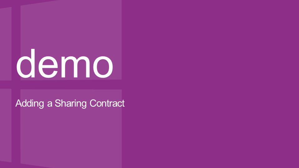 demo Adding a Sharing Contract