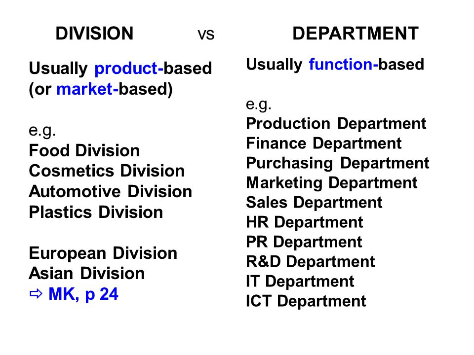 DIVISIONvsDEPARTMENT Usually product-based (or market-based) e.g.