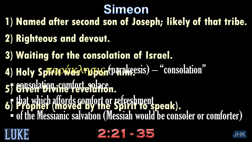 "1) Named after second son of Joseph; likely of that tribe. 2) Righteous and devout. 3) Waiting for the consolation of Israel. 4) Holy Spirit was ""upon"