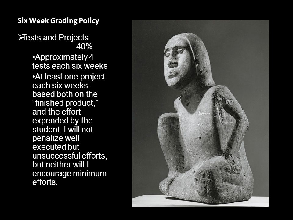 Six Week Grading Policy  Tests and Projects 40% Approximately 4 tests each six weeks At least one project each six weeks- based both on the finished product, and the effort expended by the student.
