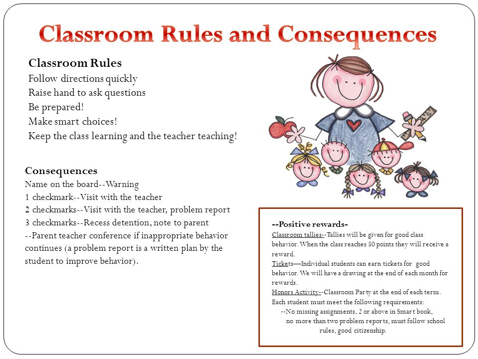 Classroom Rules Follow directions quickly Raise hand to ask questions Be prepared! Make smart choices! Keep the class learning and the teacher teachin