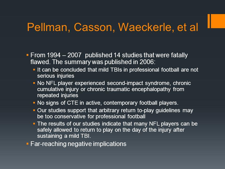 Pellman, Casson, Waeckerle, et al  From 1994 – 2007 published 14 studies that were fatally flawed.