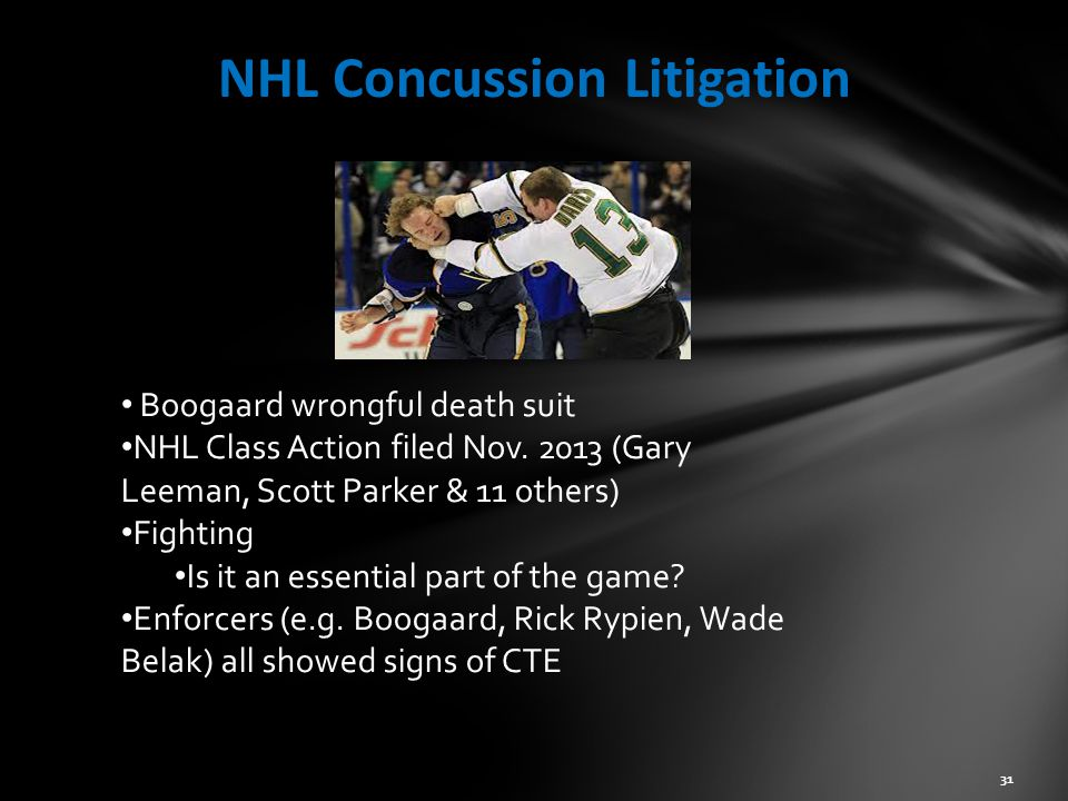 NHL Concussion Litigation 31 Boogaard wrongful death suit NHL Class Action filed Nov.