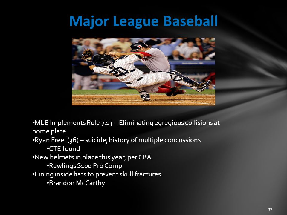 Major League Baseball 32 MLB Implements Rule 7.13 – Eliminating egregious collisions at home plate Ryan Freel (36) – suicide; history of multiple concussions CTE found New helmets in place this year, per CBA Rawlings S100 Pro Comp Lining inside hats to prevent skull fractures Brandon McCarthy