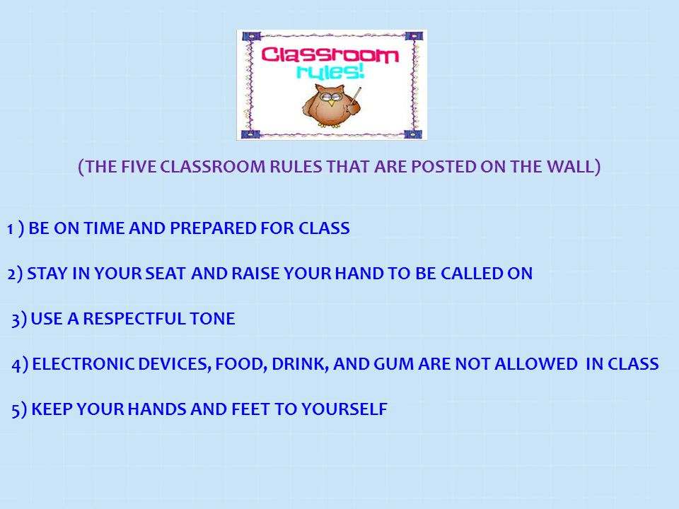 (THE FIVE CLASSROOM RULES THAT ARE POSTED ON THE WALL) 1 ) BE ON TIME AND PREPARED FOR CLASS 2) STAY IN YOUR SEAT AND RAISE YOUR HAND TO BE CALLED ON