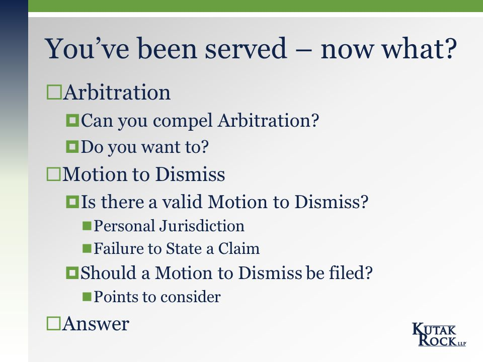  Arbitration  Can you compel Arbitration.  Do you want to.