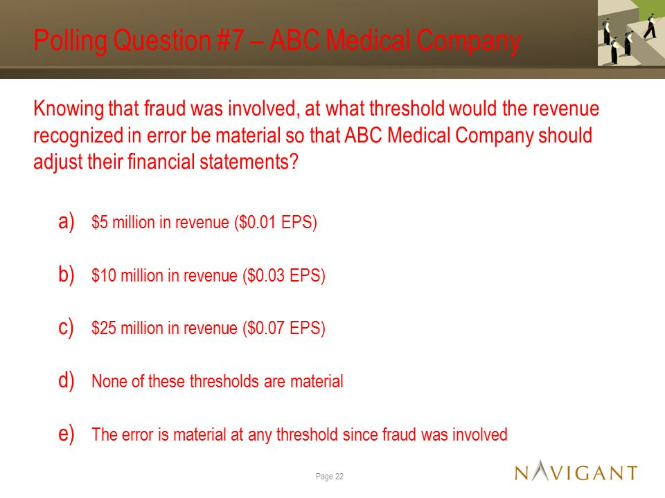 Polling Question #7 – ABC Medical Company Knowing that fraud was involved, at what threshold would the revenue recognized in error be material so that