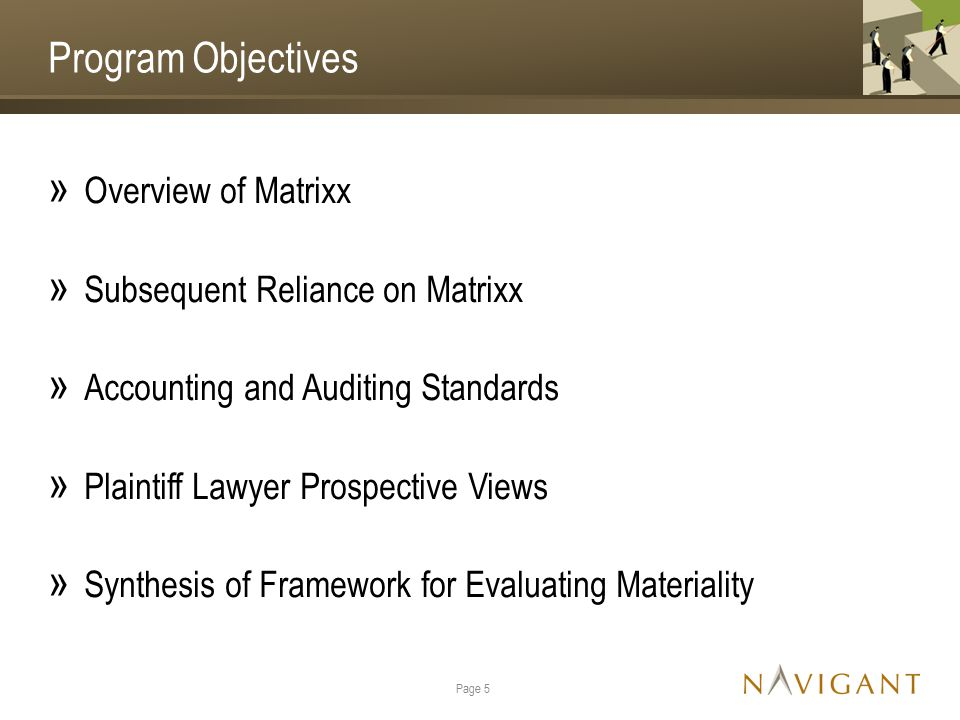 Program Objectives » Overview of Matrixx » Subsequent Reliance on Matrixx » Accounting and Auditing Standards » Plaintiff Lawyer Prospective Views » Synthesis of Framework for Evaluating Materiality Page 5