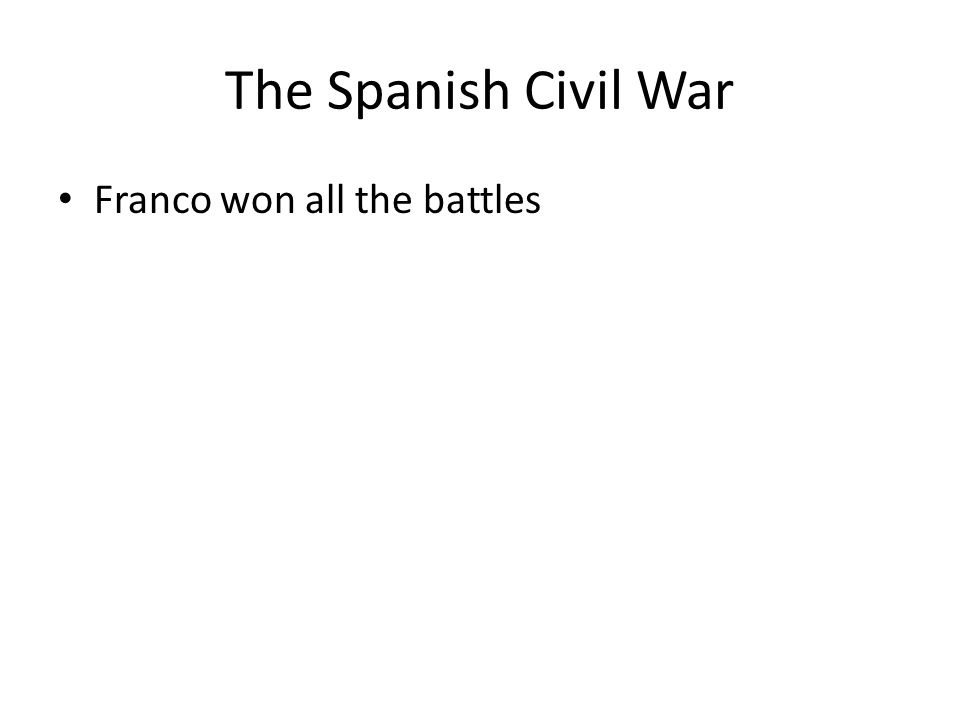 The Spanish Civil War Franco won all the battles