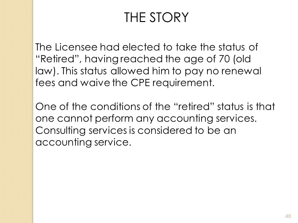 THE COMPLAINT The Licensee was offering consulting services on a social network without an active license.