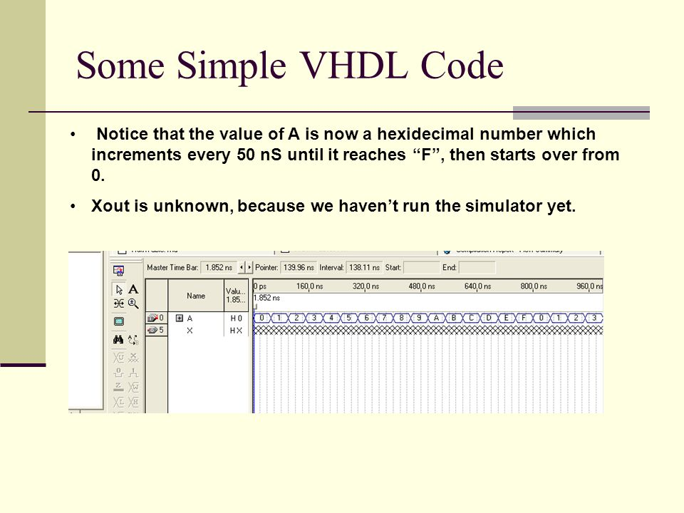 Some Simple VHDL Code Notice that the value of A is now a hexidecimal number which increments every 50 nS until it reaches F , then starts over from 0.