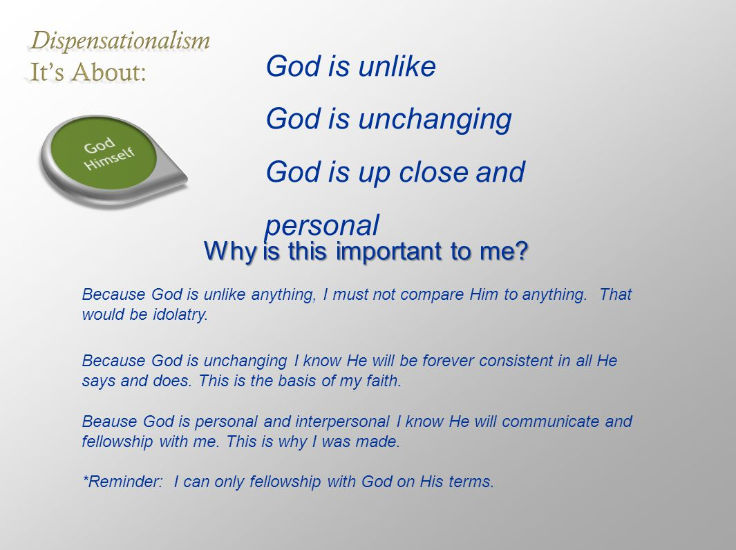God is unlike God is unchanging God is up close and personal Why is this important to me.