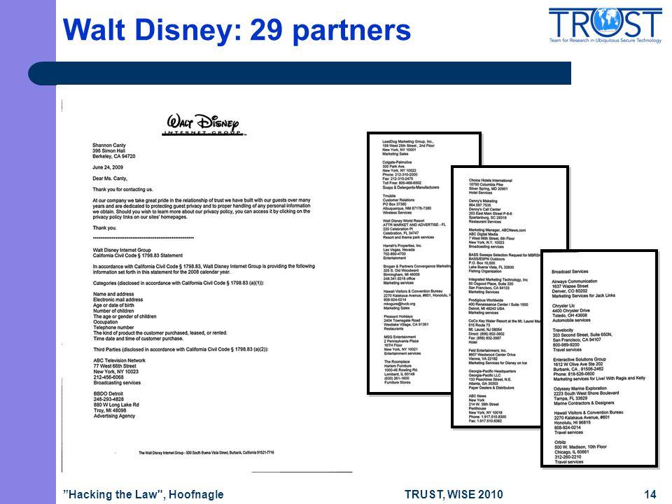 TRUST, WISE 2010 Walt Disney: 29 partners Hacking the Law , Hoofnagle14