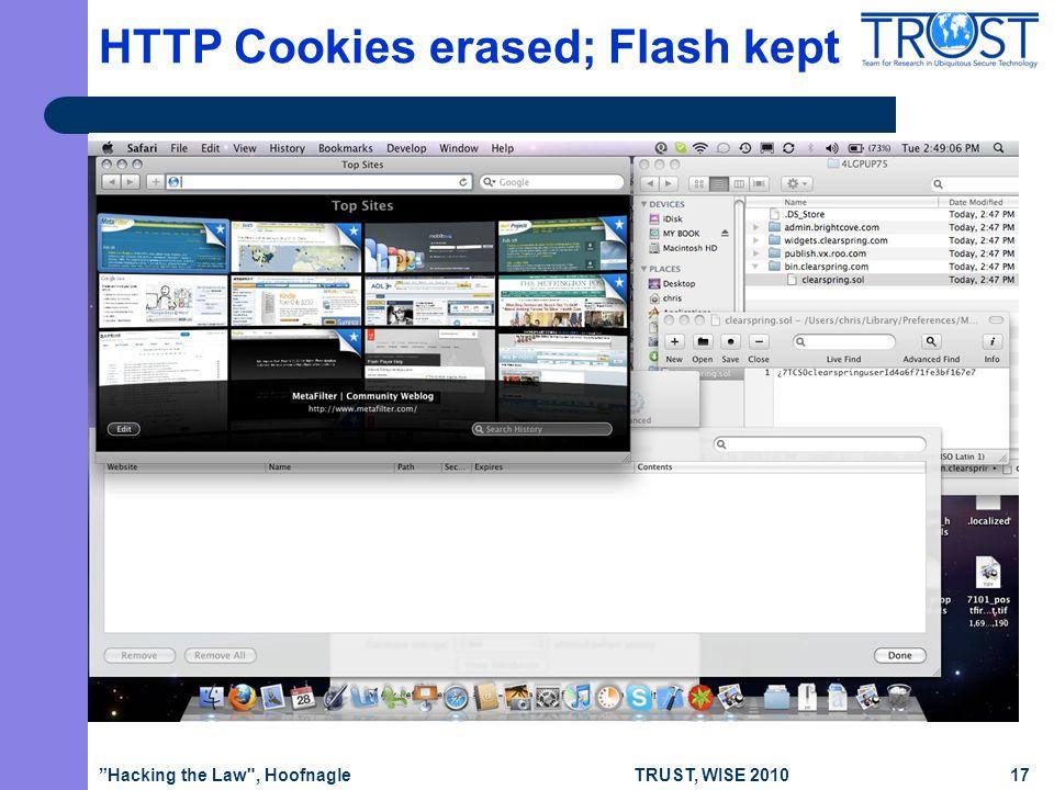 TRUST, WISE 2010 HTTP Cookies erased; Flash kept Hacking the Law , Hoofnagle17