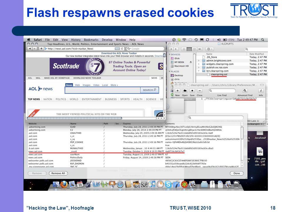 TRUST, WISE 2010 Flash respawns erased cookies Hacking the Law , Hoofnagle18