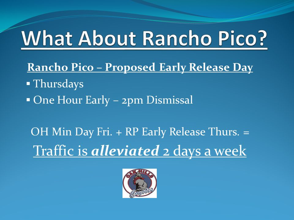 Rancho Pico – Proposed Early Release Day  Thursdays  One Hour Early – 2pm Dismissal OH Min Day Fri.