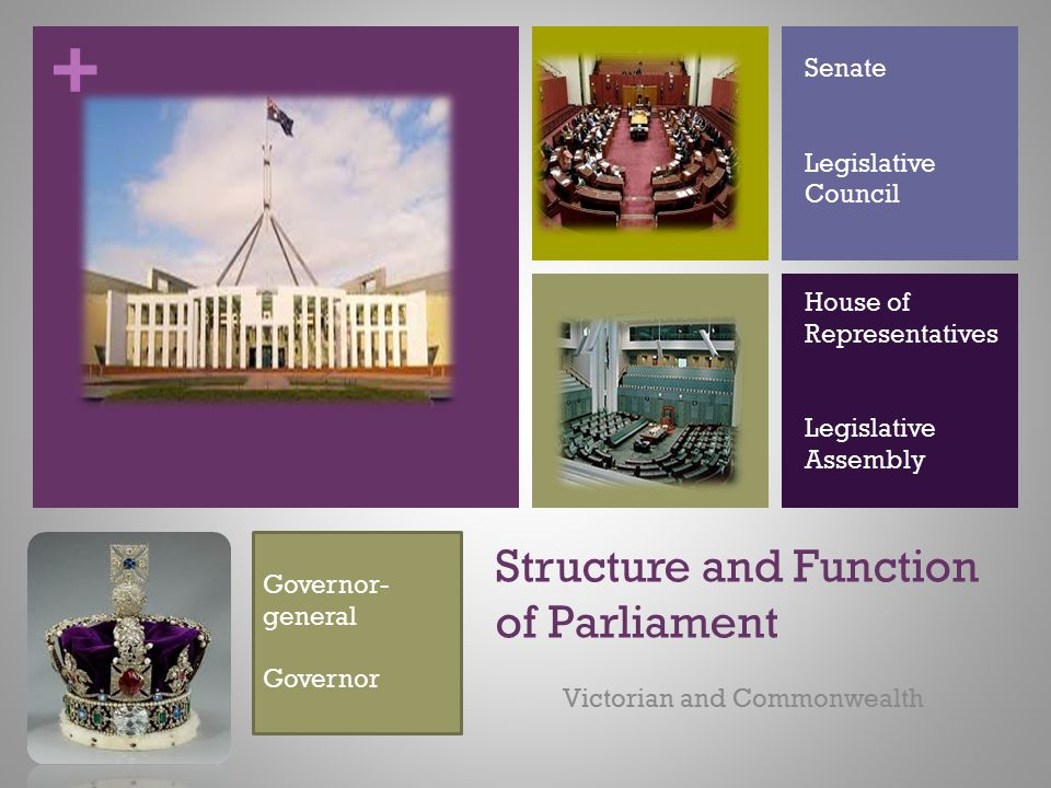 + Structure and Function of Parliament Victorian and Commonwealth Senate Legislative Council House of Representatives Legislative Assembly Governor- g