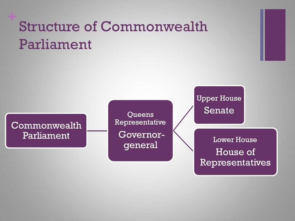 + Structure of Commonwealth Parliament Commonwealth Parliament Queens Representative Governor- general Upper House Senate Lower House House of Represe
