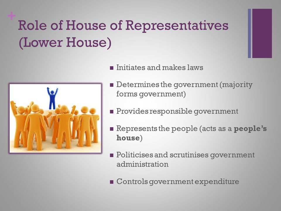 + Role of House of Representatives (Lower House) Initiates and makes laws Determines the government (majority forms government) Provides responsible g