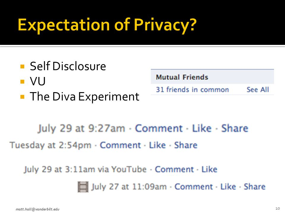  Self Disclosure  VU  The Diva Experiment matt.hall@vanderbilt.edu 10