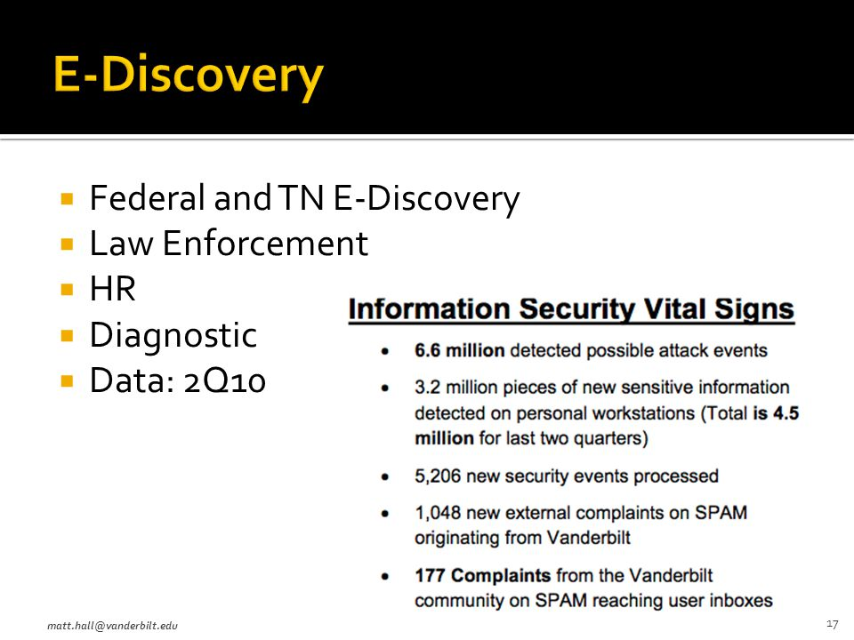  Federal and TN E-Discovery  Law Enforcement  HR  Diagnostic  Data: 2Q10 matt.hall@vanderbilt.edu 17
