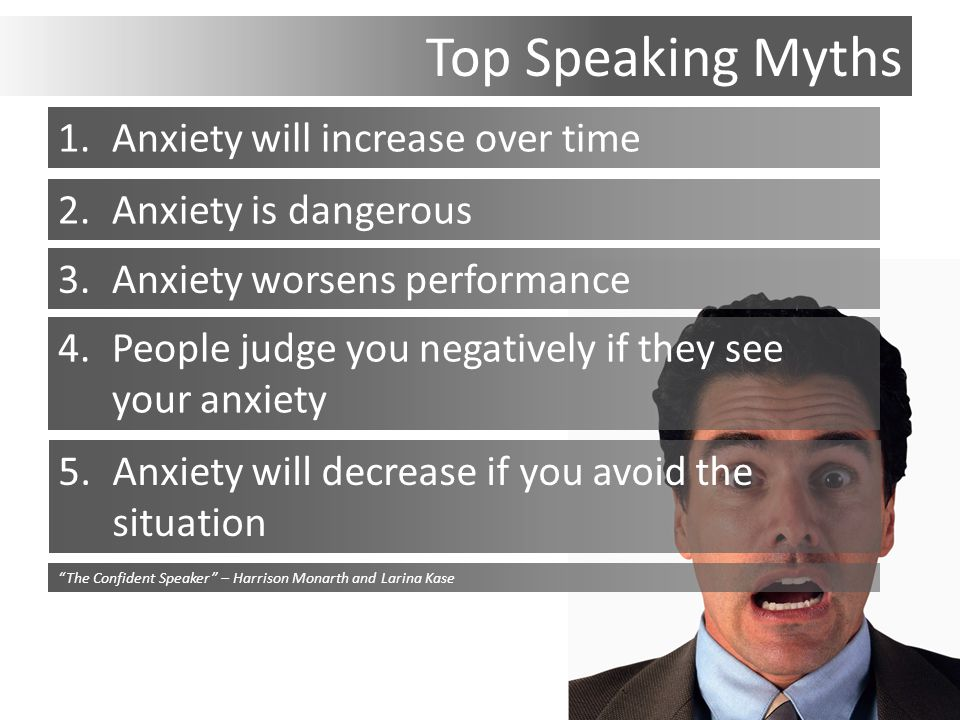 Top Speaking Myths 1.Anxiety will increase over time 2.Anxiety is dangerous 3.Anxiety worsens performance 4.People judge you negatively if they see your anxiety 5.Anxiety will decrease if you avoid the situation The Confident Speaker – Harrison Monarth and Larina Kase