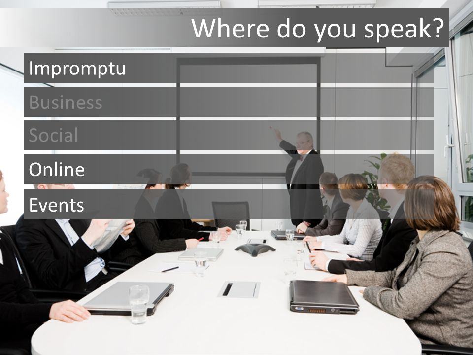 Where do you speak Impromptu Business Social Events Online