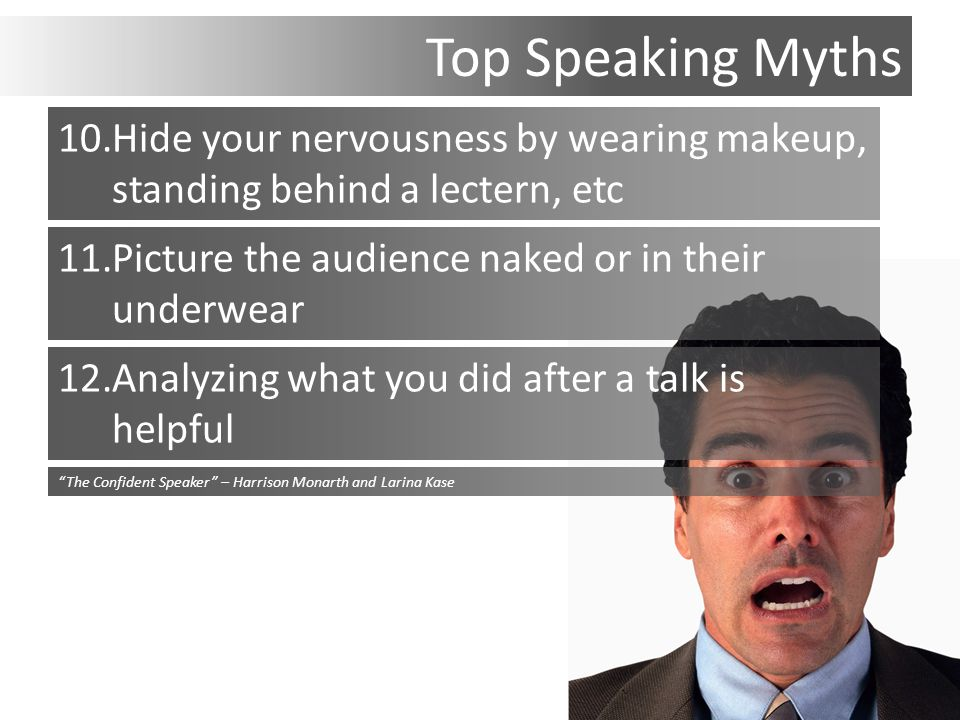 Top Speaking Myths 10.Hide your nervousness by wearing makeup, standing behind a lectern, etc 11.Picture the audience naked or in their underwear 12.Analyzing what you did after a talk is helpful The Confident Speaker – Harrison Monarth and Larina Kase